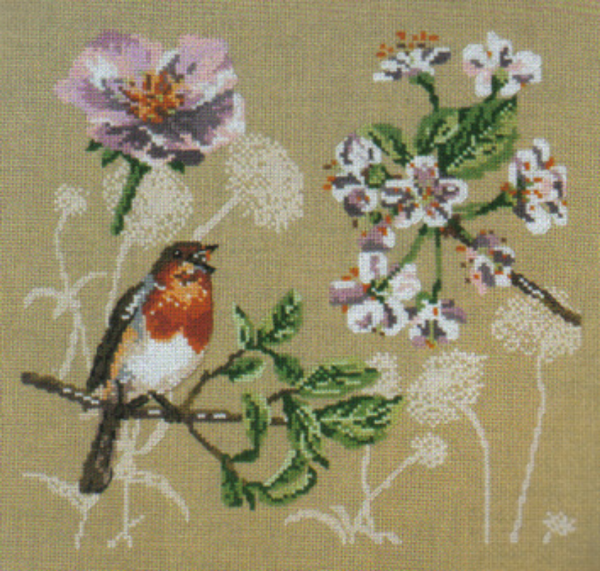 Flowers and Robin Cross Stitch Kit